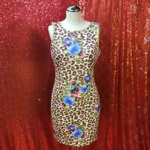 Leopard and hibiscus flower body con dress.